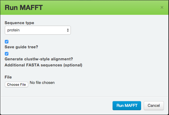 MAFFT Dialogue Box.